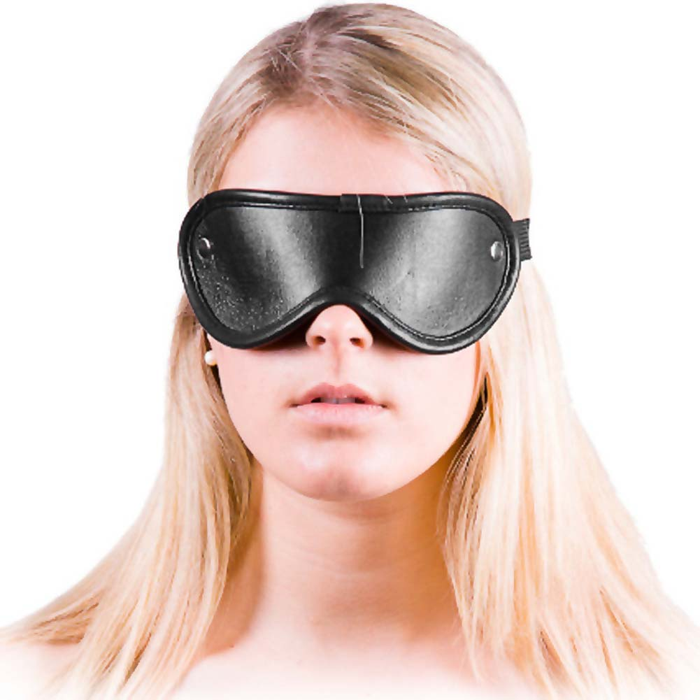 Rouge Leather Blindfold Eye Mask Black - View #1