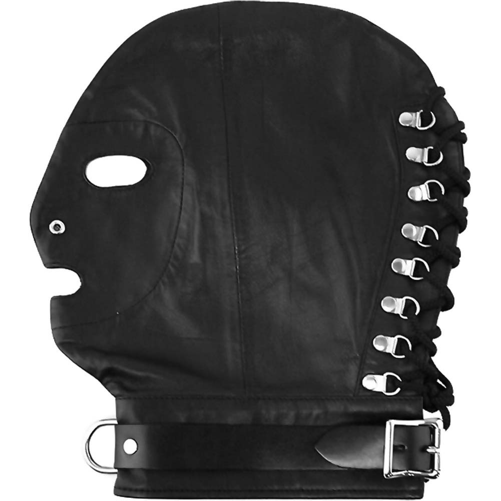 Rouge Leather Mask with D-Ring and Lockable Buckle Black - View #1
