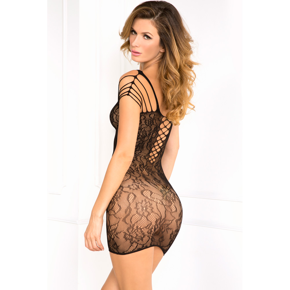 Rene Rofe Off The Hook Lace Seamless Dress One Size Black - View #2