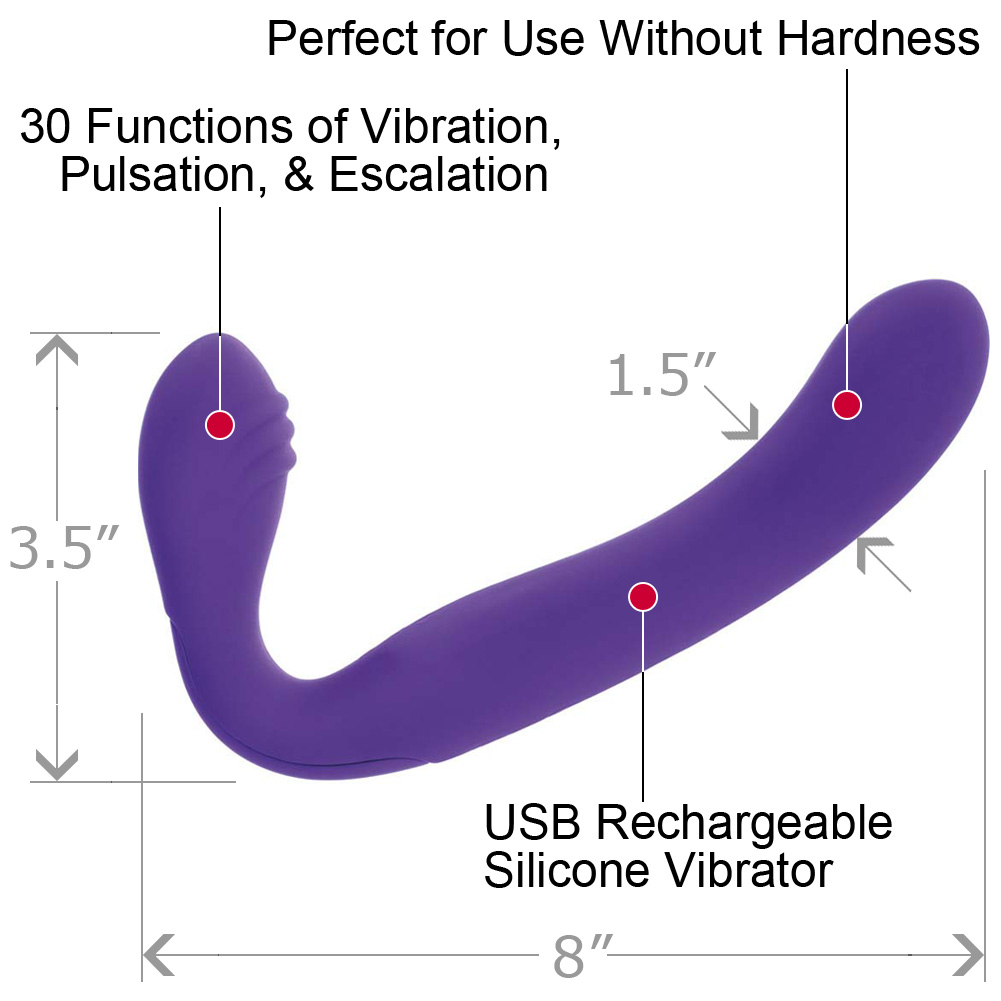 "Rechargeable Vibrating Silicone Love Rider Strapless Strap-On 8"" Purple - View #1"