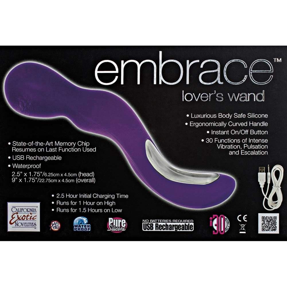 """California Exotics Embrace Lovers Wand USB Rechargeable Vibrator 9"""" Purple - View #1"""