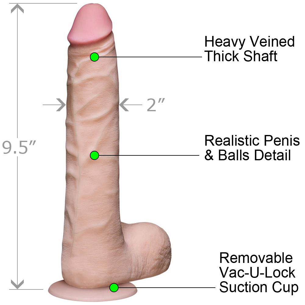 Vac-U-Lock Realistic Cock UR3 with Balls Slim 9 Iinch Natural Flesh - View #1