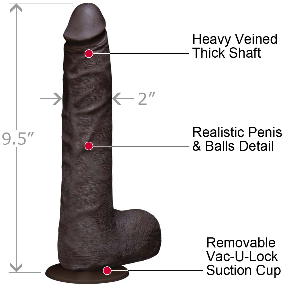 Vac-U-Lock Realistic Cock UltraSKYN with Balls Slim 9 Iinch Ebony - View #1