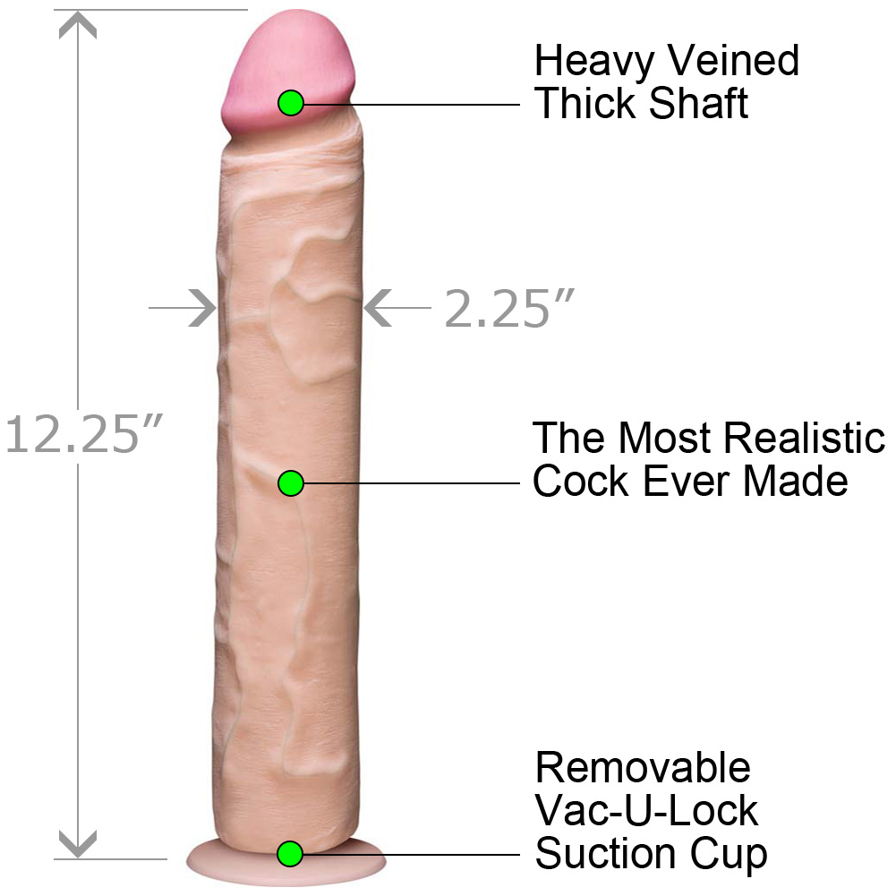 Vac-U-Lock Realistic Cock UltraSKYN 12 Iinch Natural Flesh - View #1