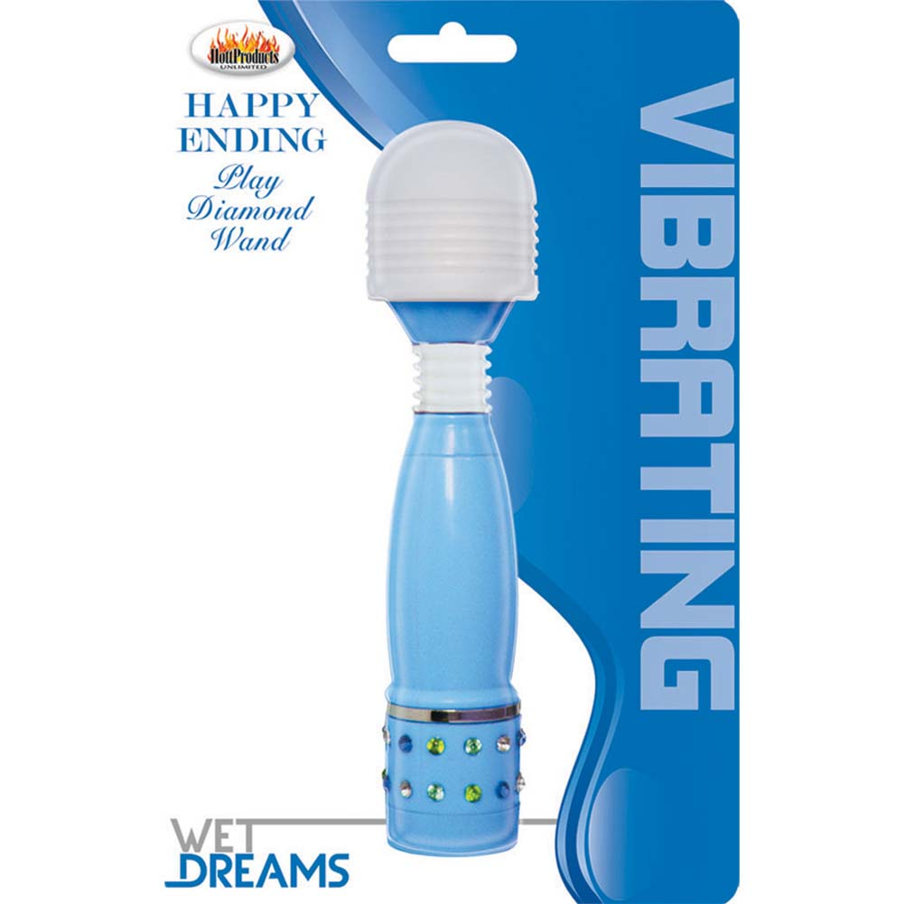 Wet Dreams Happy Ending Vibrating Play Diamond Wand Blue - View #1