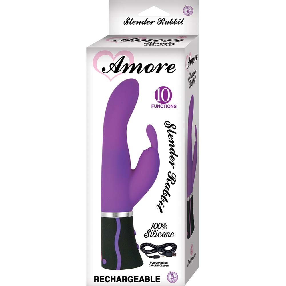 "Amore Slender Rabbit USB Rechargeable Vibrator 8.5"" Purple - View #1"