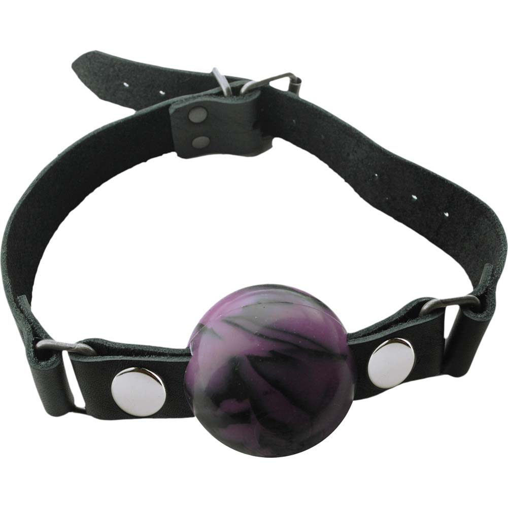 "Spartacus Nickel Free Silicone Removable Ball Gag Large 2"" Purple Swirl - View #2"