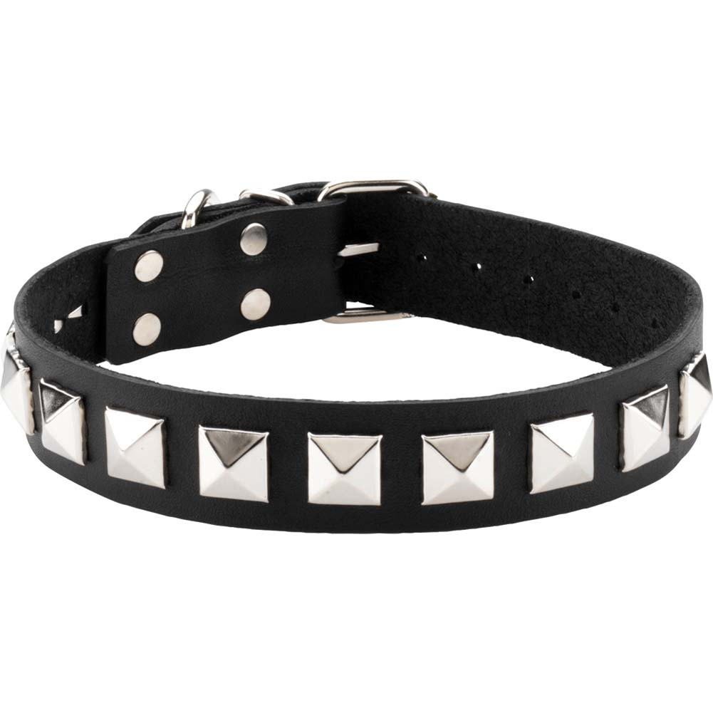 Spartacus Studded Single Strap Leather Collar Black - View #2