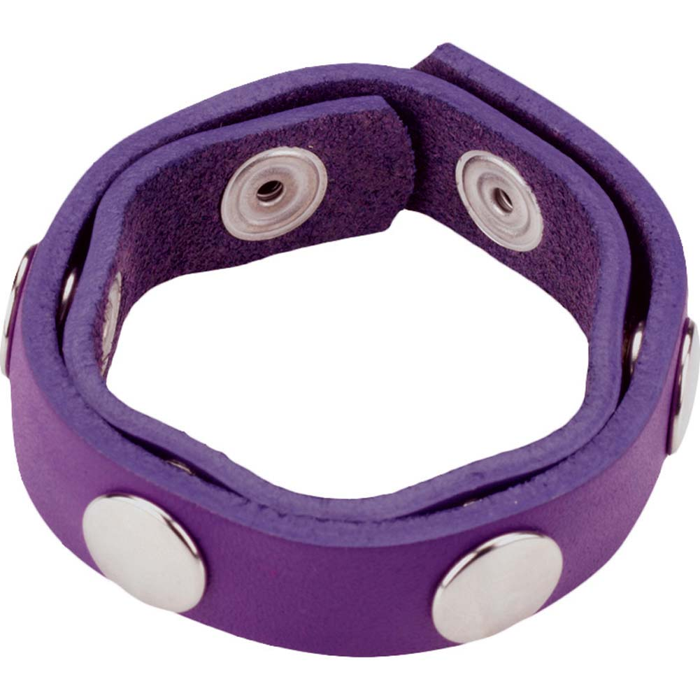 Spartacus Six Speed Leather Cock Ring with Six Snaps Purple - View #2