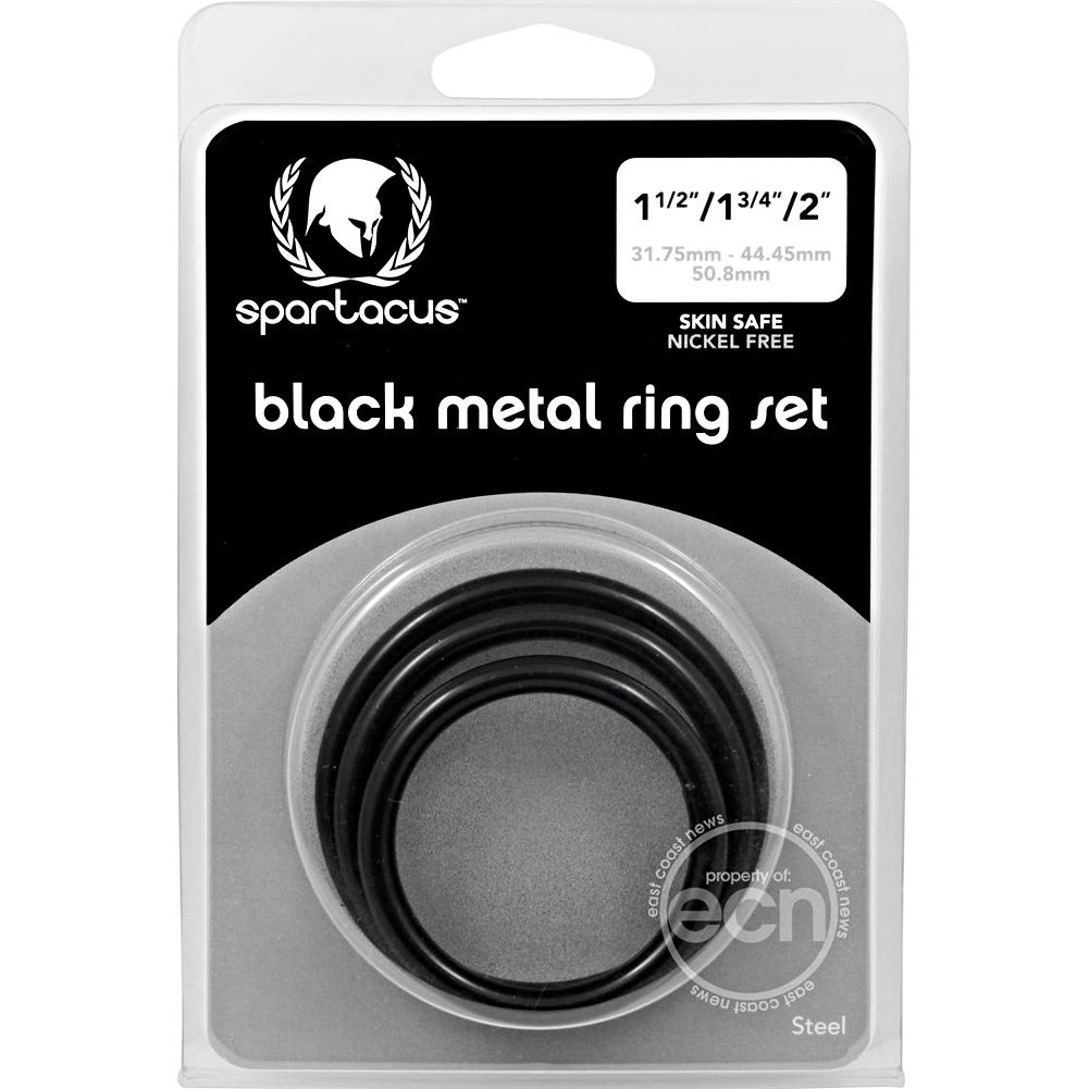 Spartacus Black Steel Cock Rings 3 Piece Set - View #1