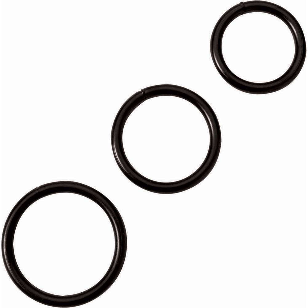 Spartacus Black Steel Cock Rings 3 Piece Set - View #3