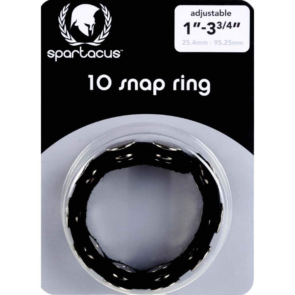 Spartacus Leather Ten Speed Cock Ring with Ten Snaps Black - View #1