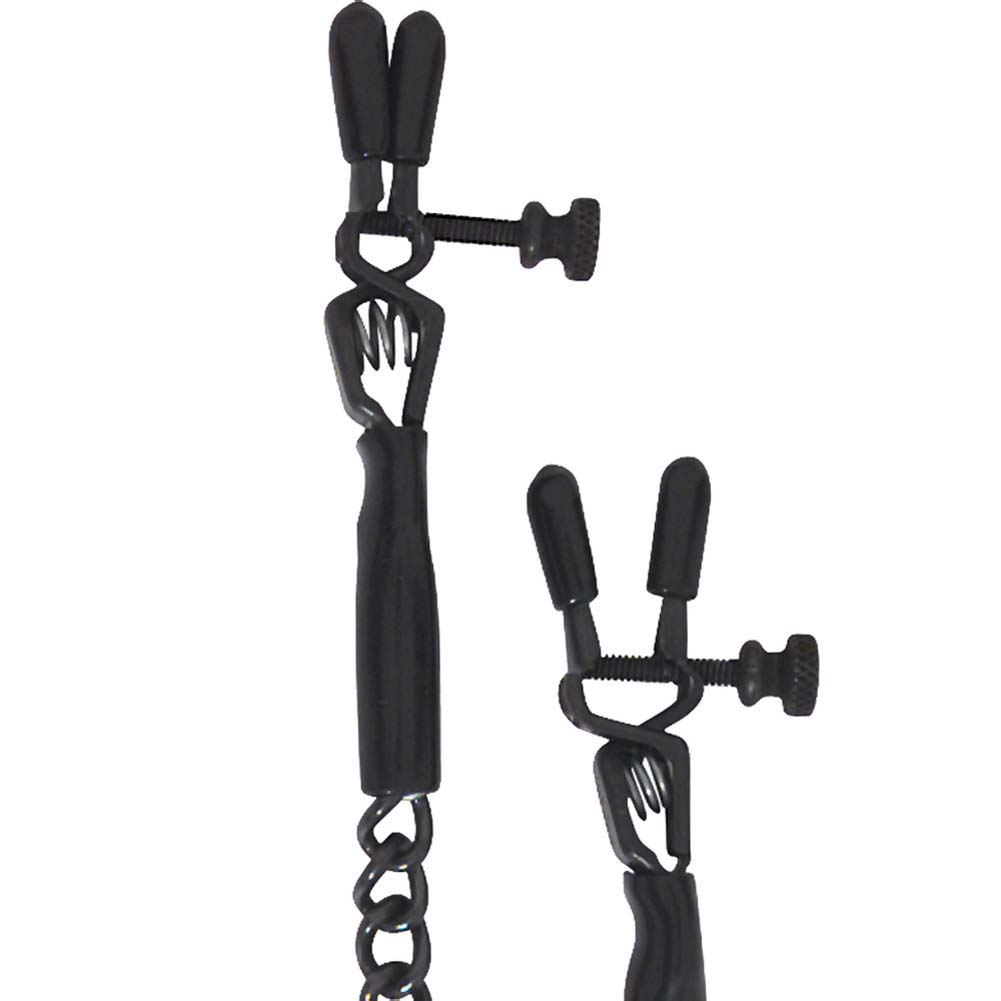 Spartacus Blackline Adjustable Spring Jaw Nipple Clamps with Link Chain Black - View #1