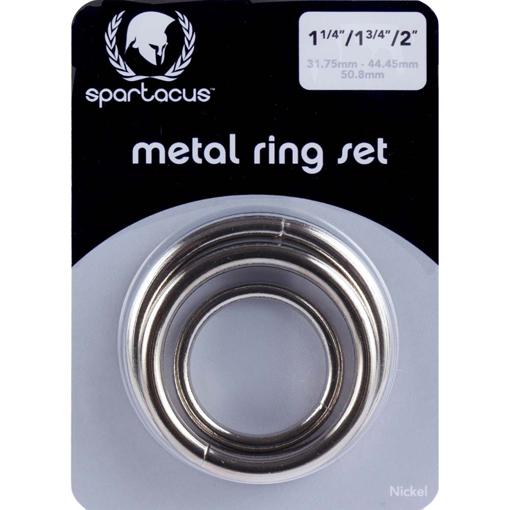 Spartacus Metal Cock Rings 3 Piece Set Silver - View #1