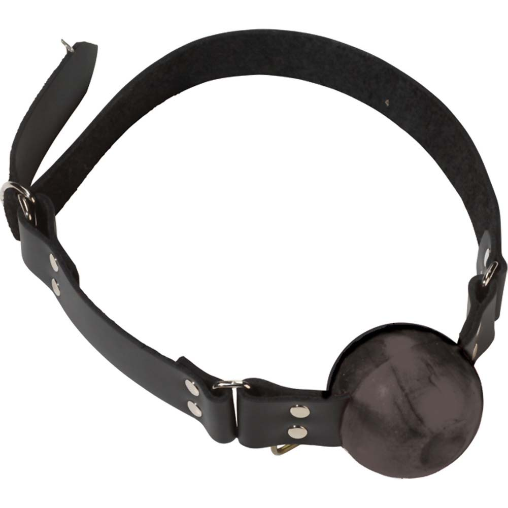 Spartacus Large Black Ball Gag with D-Ring and Black Strap - View #3