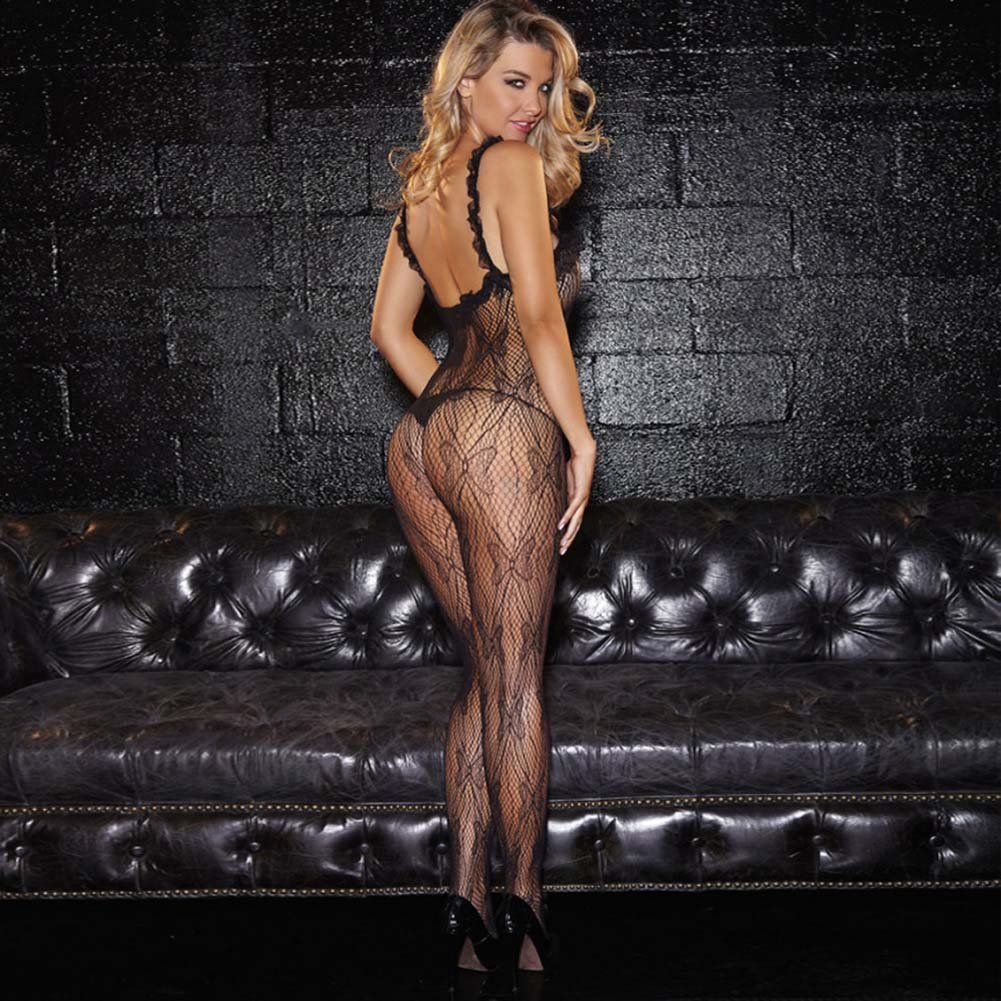 Hustler Crotchless Lace Bodystocking One Size Black - View #2