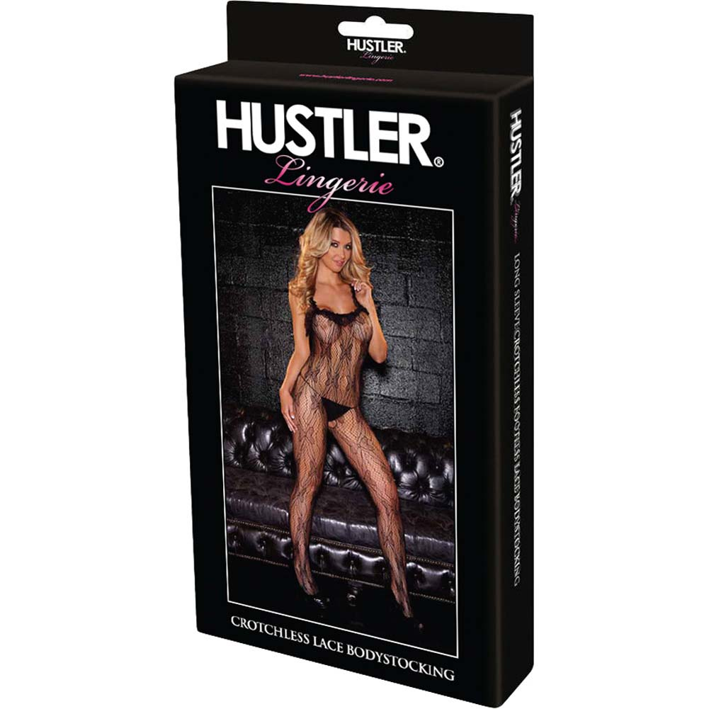 Hustler Crotchless Lace Bodystocking One Size Black - View #4