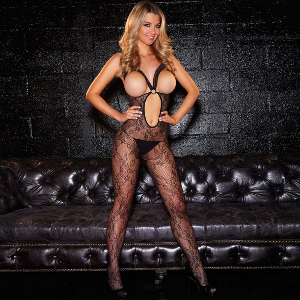 Hustler Crotchless Show Me Bodystocking One Size Black - View #1