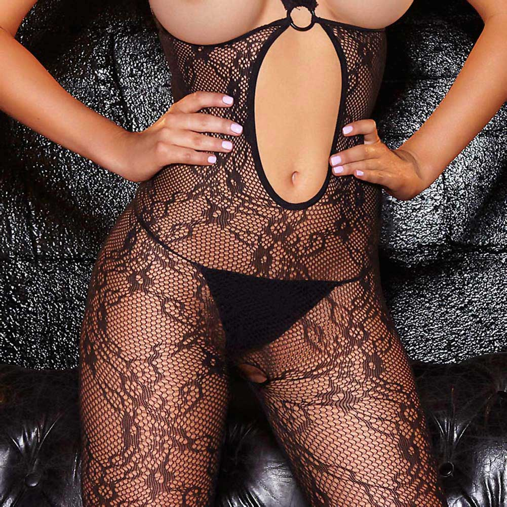 Hustler Crotchless Show Me Bodystocking One Size Black - View #3