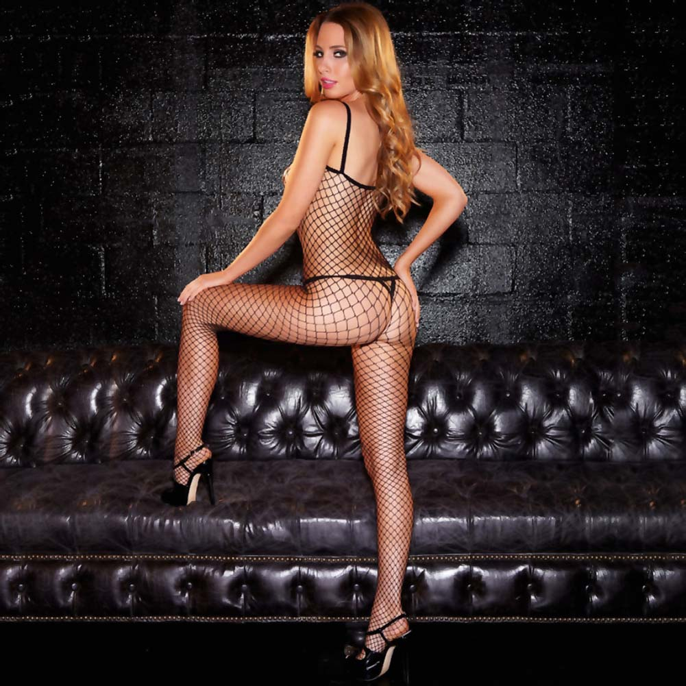 Hustler Crotchless Fencenet Bodystocking One Size Black - View #2