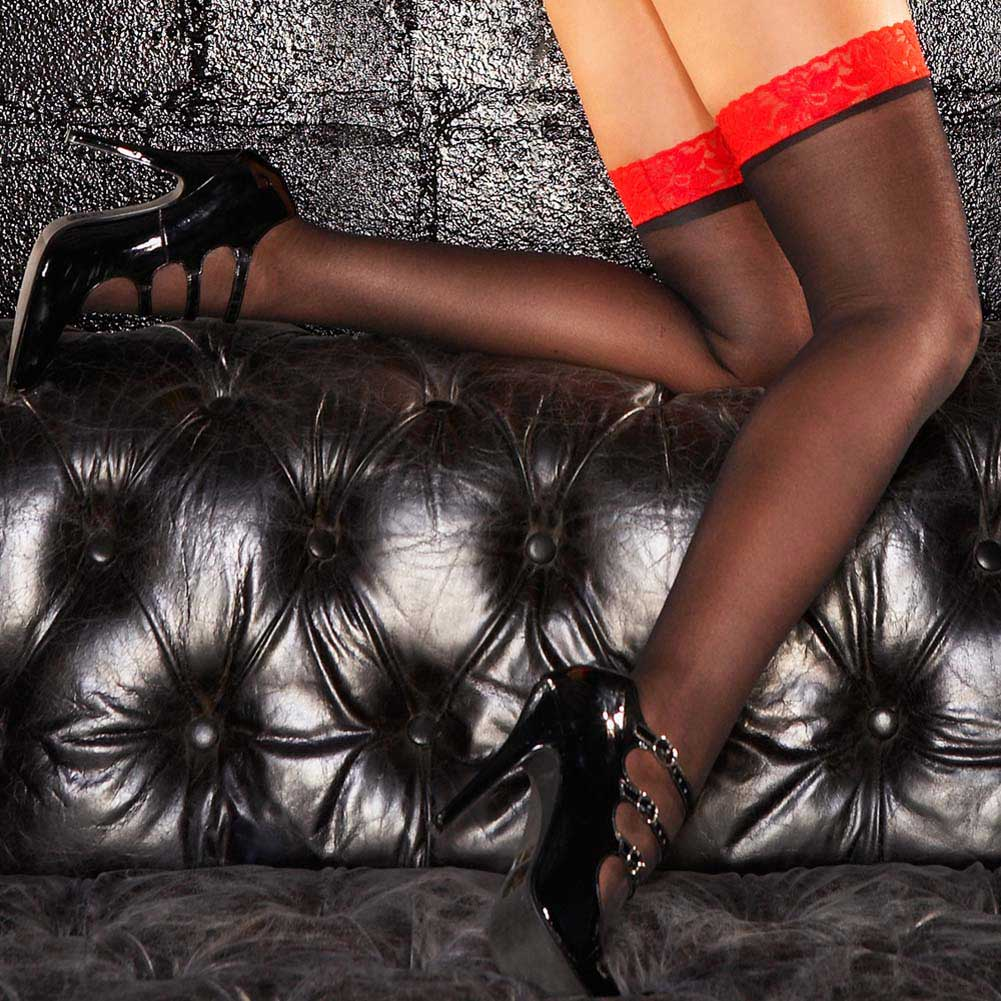 Hustler Classic Sheer Thigh High One Size Red/Black - View #1