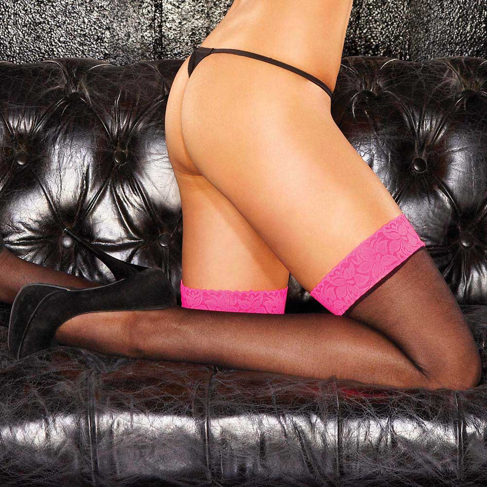 Hustler Classic Sheer Thigh High One Size Pink/Black - View #1