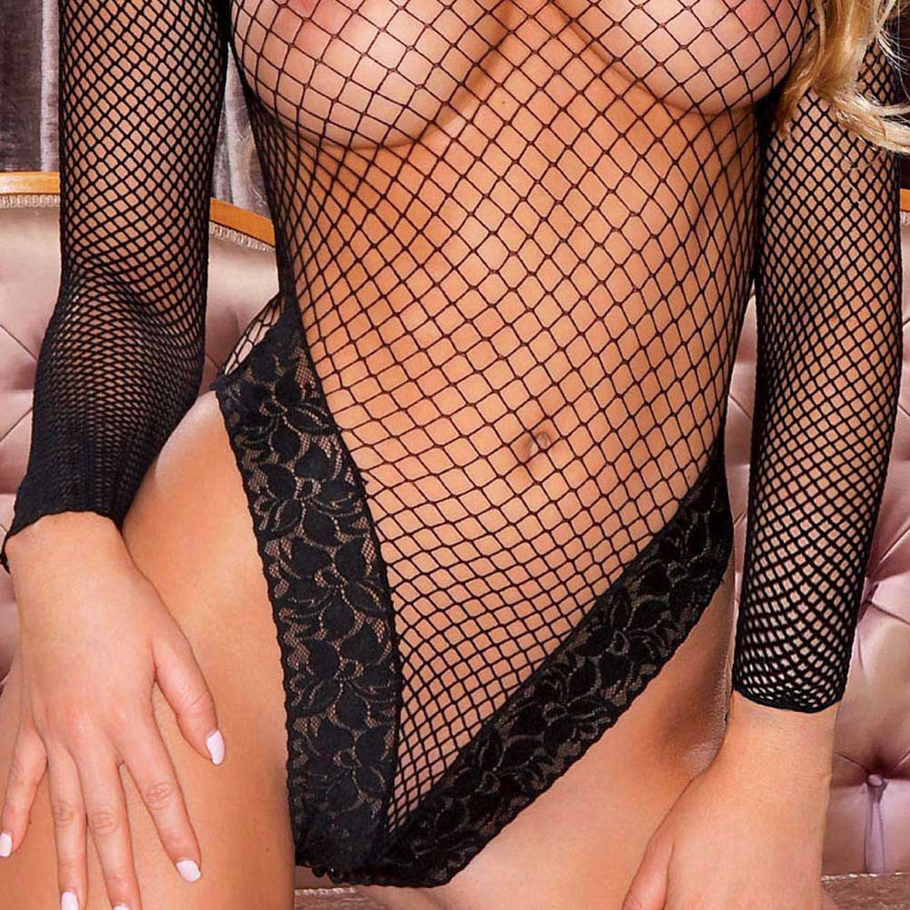 Hustler Long Sleeve Fishnet Teddy with Lace One Size Black - View #3