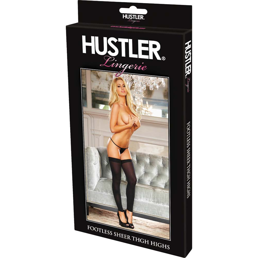 Hustler Footless Sheer Thigh High One Size Black - View #4