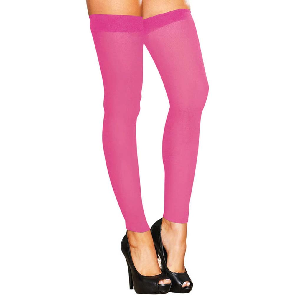 Hustler Footless Sheer Thigh High One Size Pink - View #1