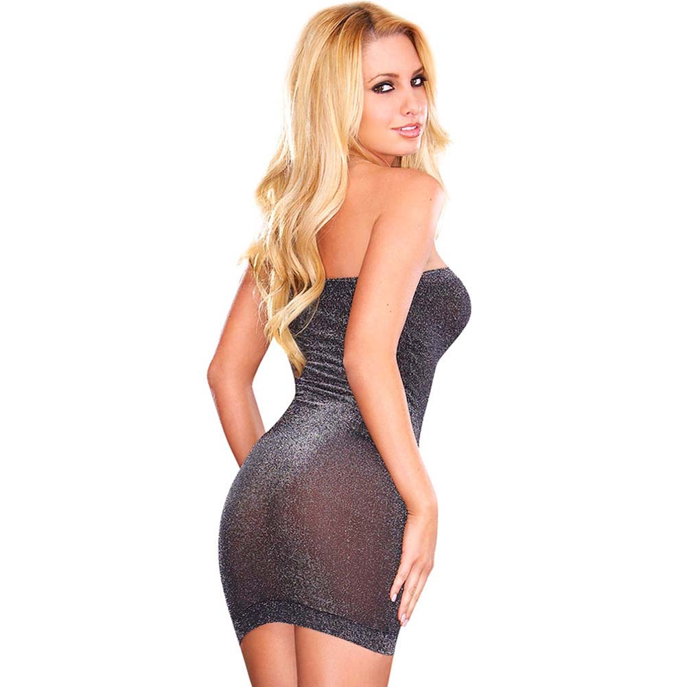 Hustler Metallic Tube Dress One Size Metallic Black - View #1