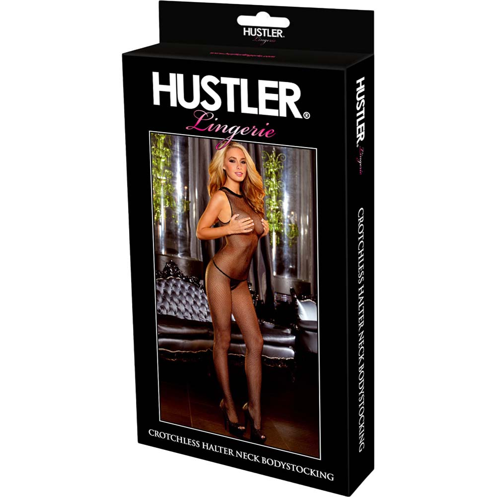 Hustler Crotchless Halter Neck Bodystocking One Size Black - View #4