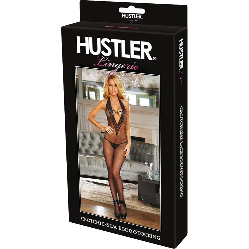 Hustler Criss Cross Fishnet Bodystocking One Size Black - View #4
