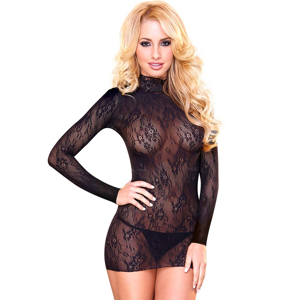 Hustler Lace Mini Dress Long Sleeves One Size Black - View #1