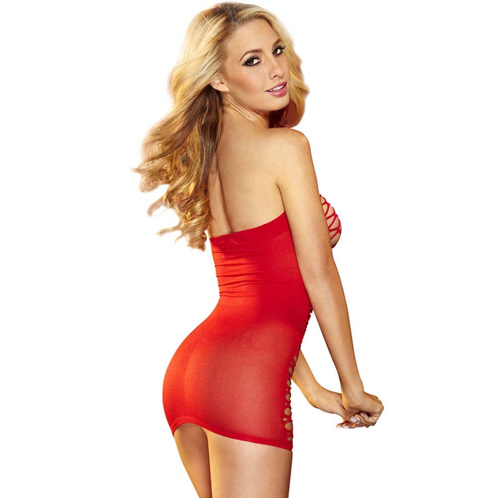 Hustler Fencenet Micro Mini Dress One Size Red - View #2