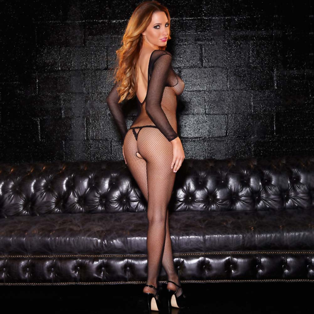 Hustler Long Sleeves Crotchless Fshnet Bodystocking Black - View #2