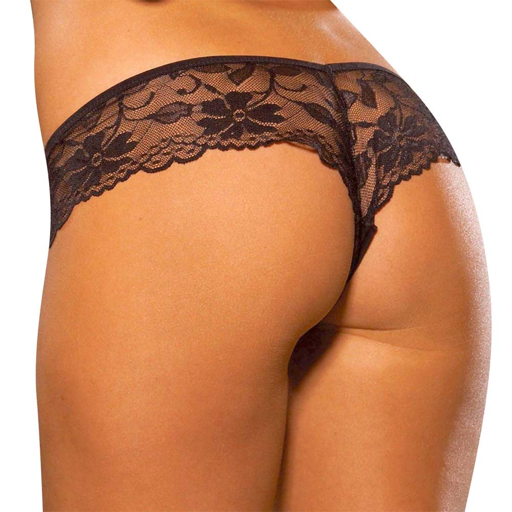 Hustler Lace Booty Short Panty Small/Medium Black - View #2