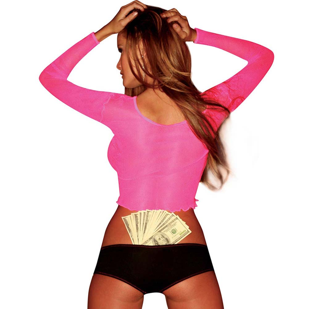 Hustler Straight Long Sleeve Fishnet Tee Hot Pink - View #2