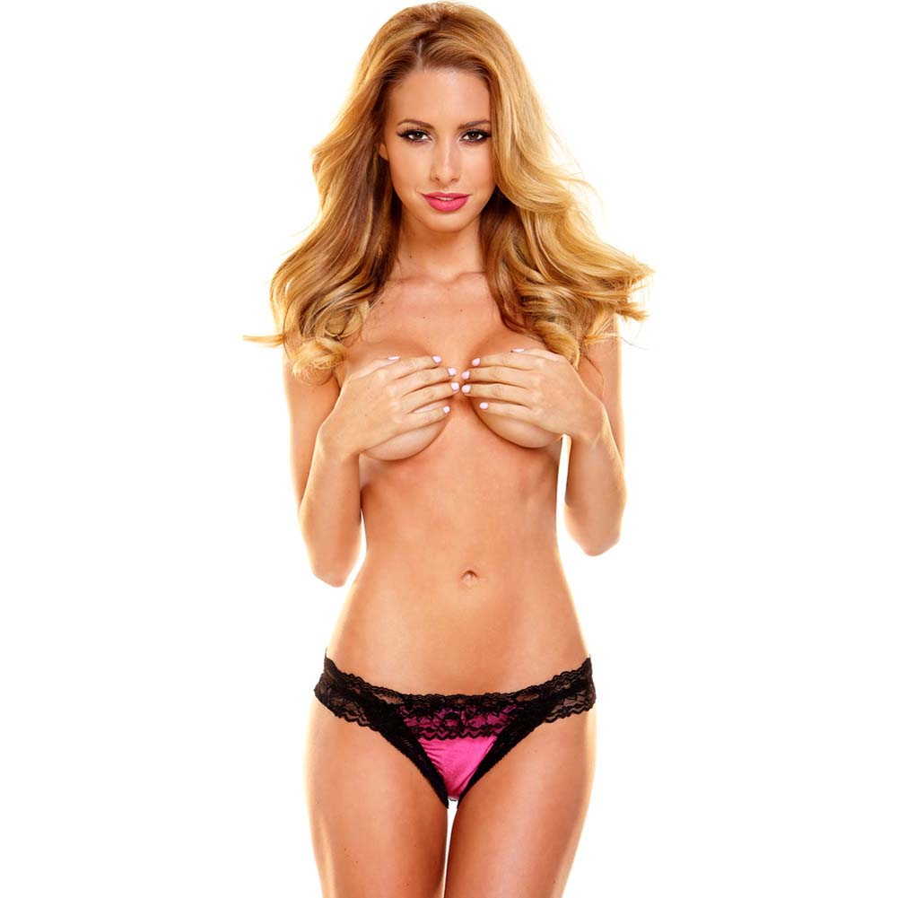 Hustler Rear View Lace Thong Small/Medium Pink/Black - View #4