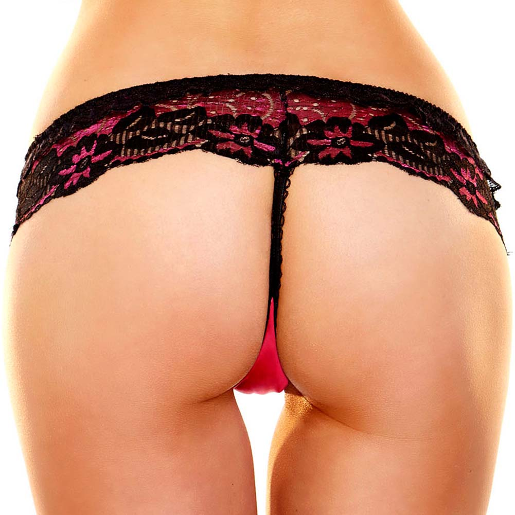 Hustler Lace G-String Small/Medium Red Black - View #2