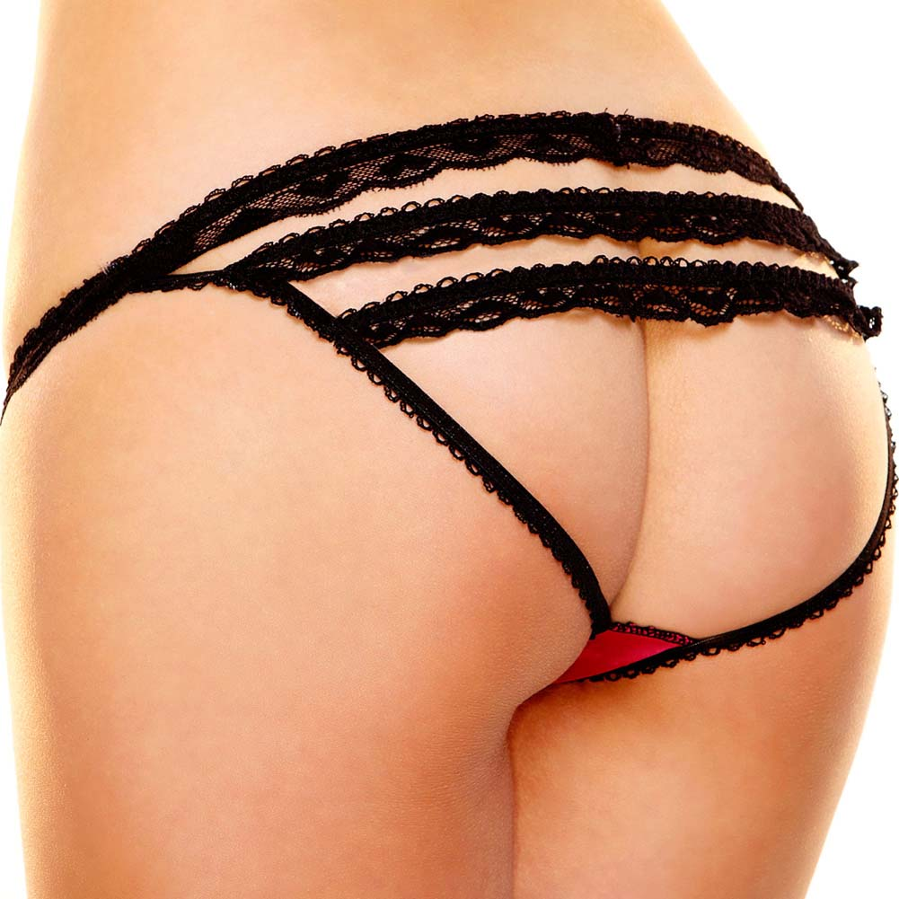 Hustler Rear View Panty Medium/Large Red and Black - View #1
