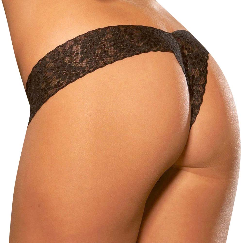Hustler Crotchless Lace Thong Small/Medium Black - View #2