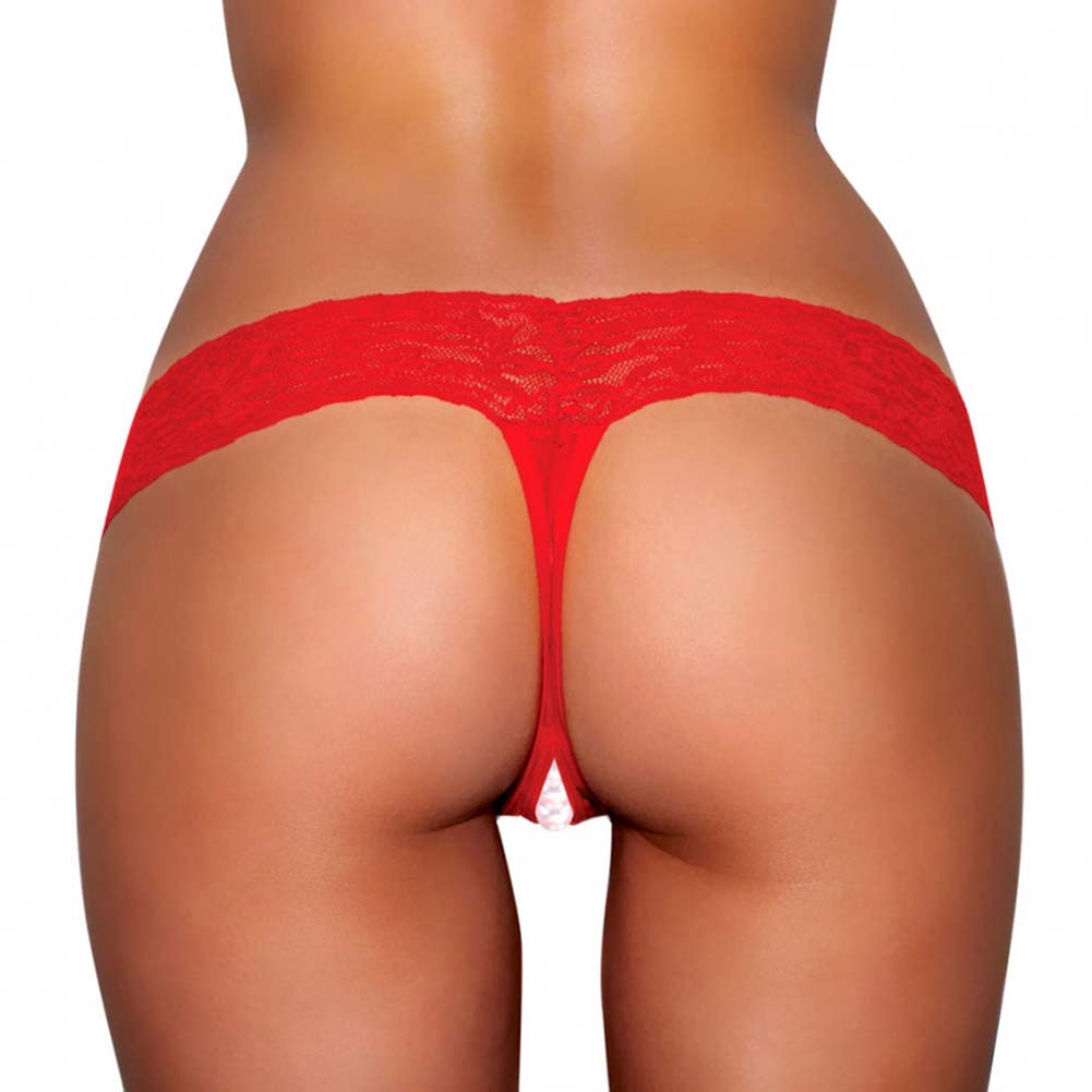 Hustler Crotchless Stimulating Thong with Pearl Pleasure Beads Medium/Large Red - View #2