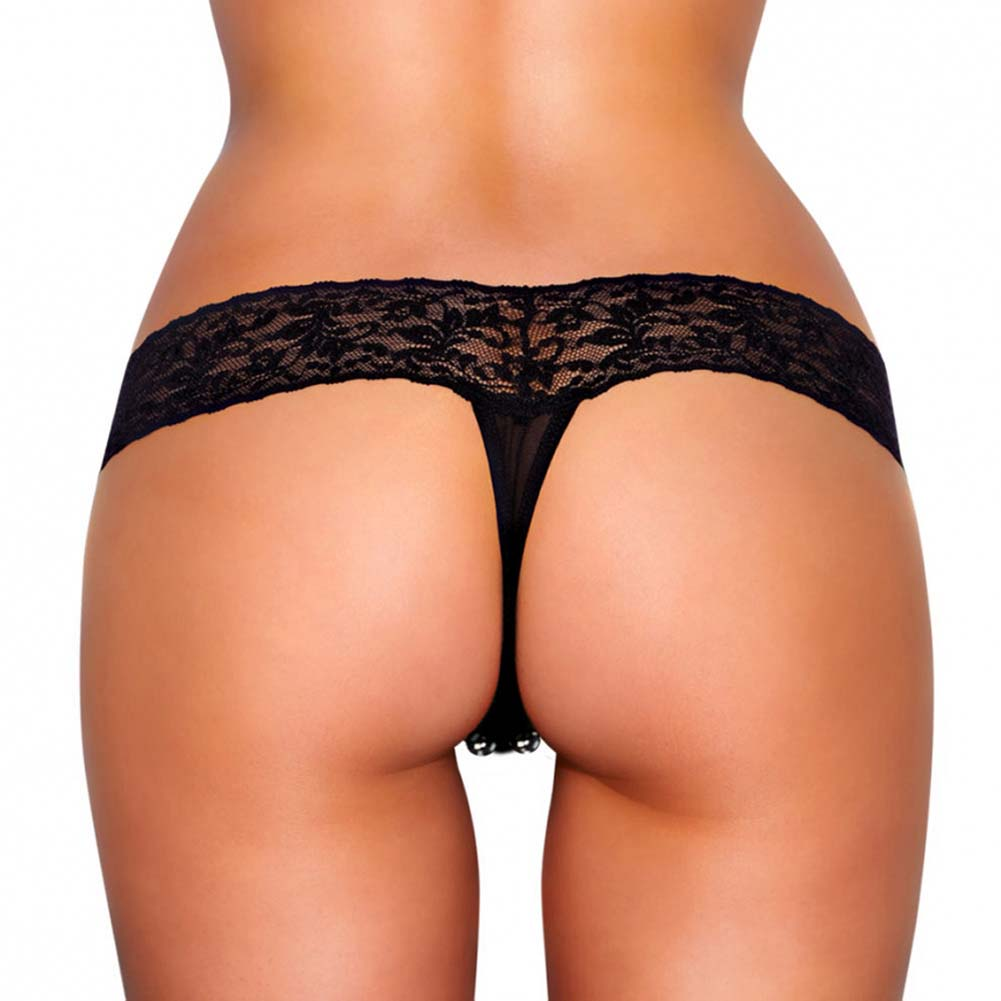 Hustler Vibrating Lace Thong with Beads Small/Medium Black - View #2