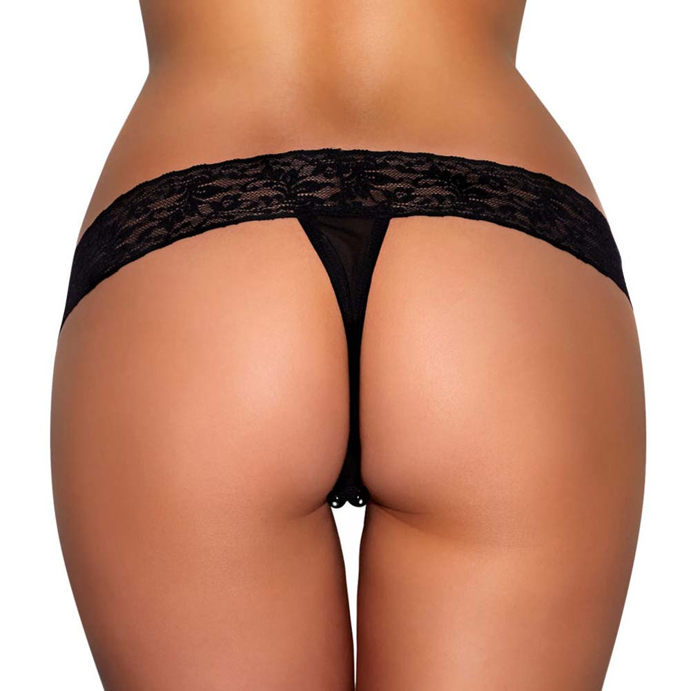 Hustler Lace Thong with Black Stimulating Beads Small/Medium Black - View #2