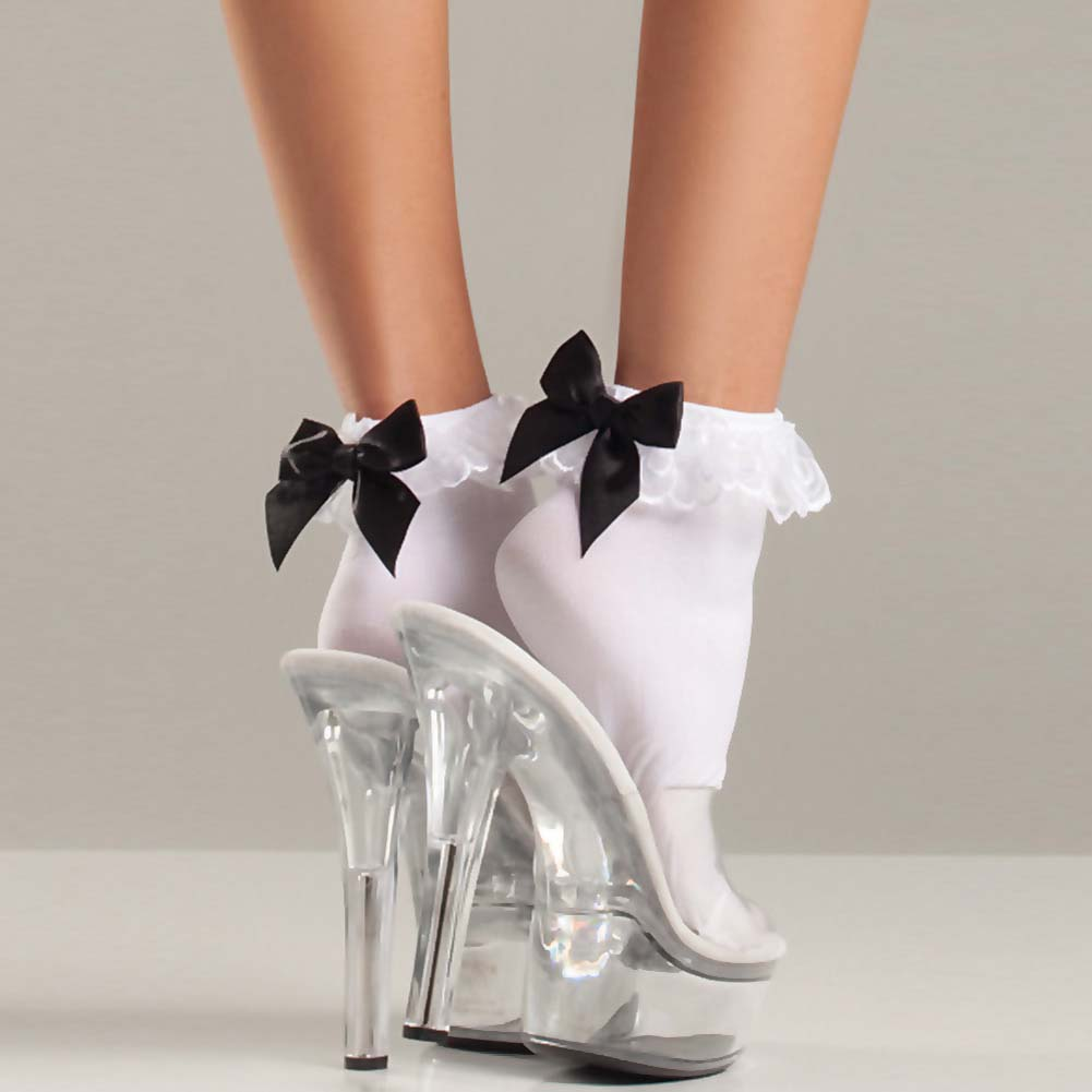 Be Wicked Ruffle-Top and Satin Bow Anklets One Size White - View #2
