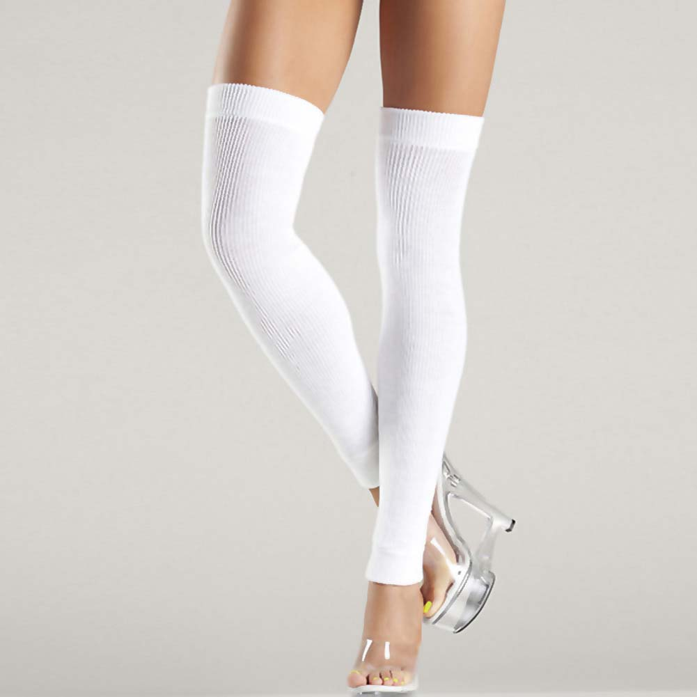 Be Wicked Thigh High Leg Warmer One Size White - View #2