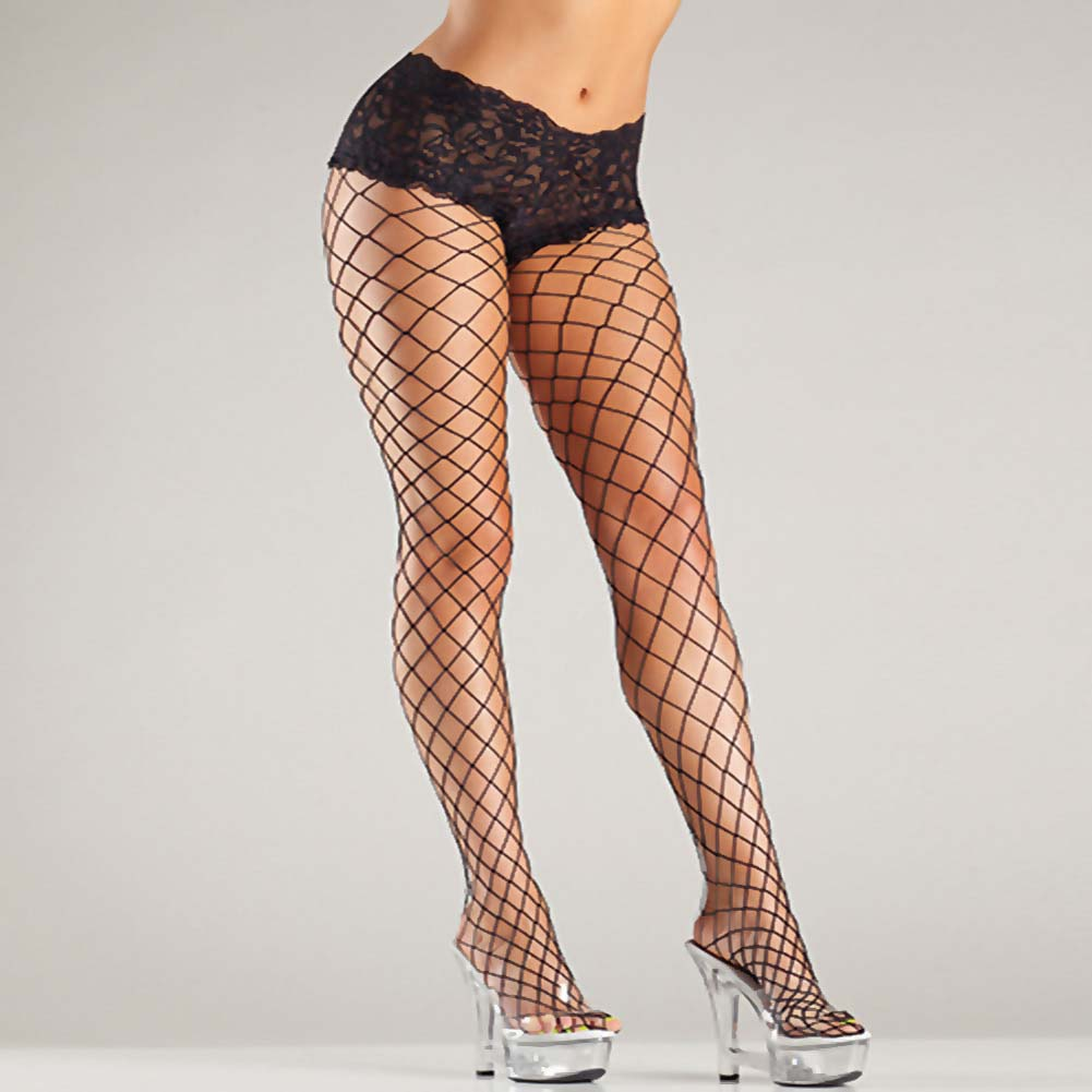 Be Wicked Fence Net Tights with Boyshort Top Plus Size Black - View #4