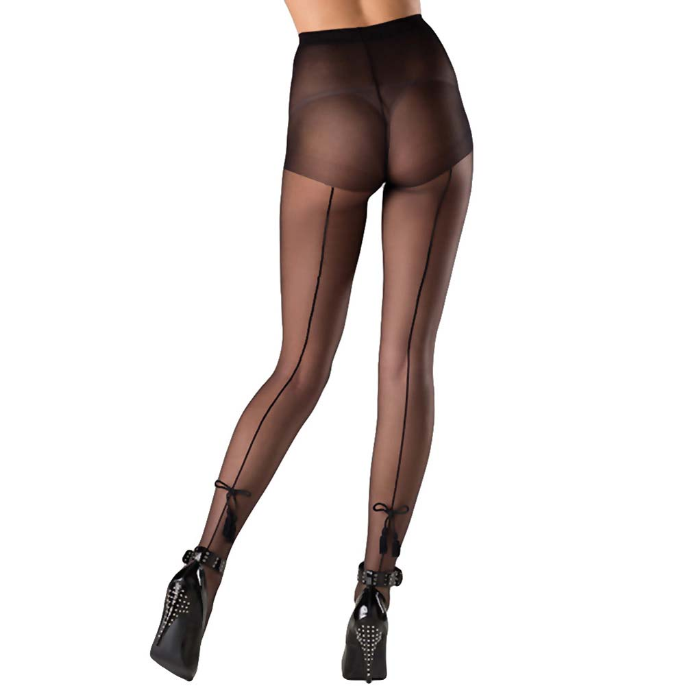 Be Wicked Pantyhose with Tassel Bow One Size Black - View #1