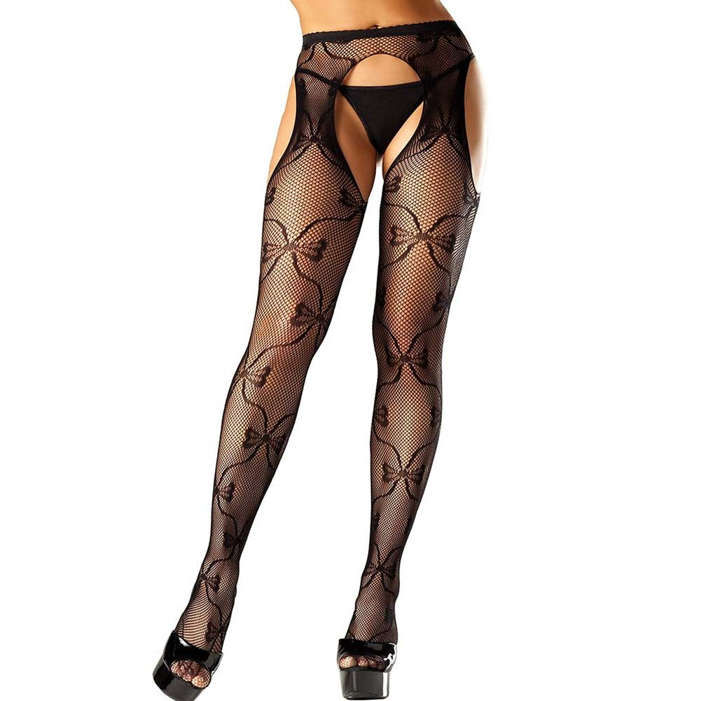Be Wicked Bow Lace Suspender Pantyhose One Size Black - View #1