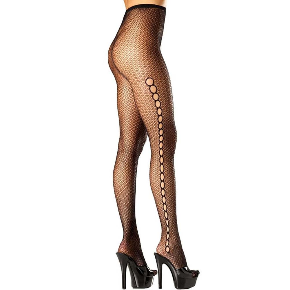 Be Wicked Seamless Fishnet Keyhole Pantyhose One Size Black - View #1